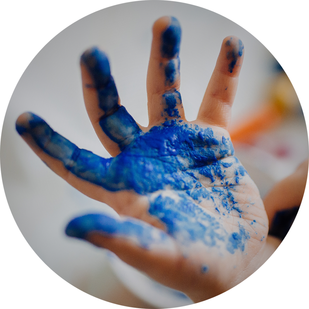 LEARN YOUR WAY blue paint hand